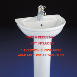 Halo White 450X360Mm Cloakroom Basin 2 Tapholes